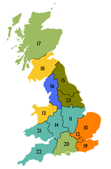 Map of DNO licence areas, numbered using distributor IDs, and coloured by DNO