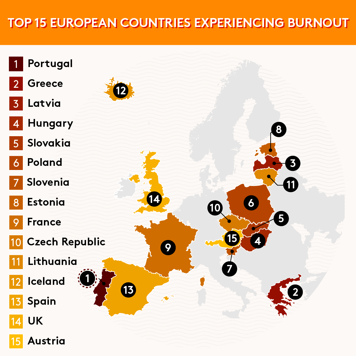Top 15 Countries Experiencing Burnout