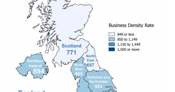 UK Regional Business Density: Number of Businesses Per 10,000 People