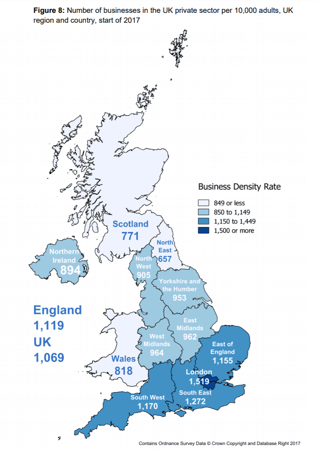 Map Of Uk Midlands.Uk Regional Business Density Number Of Businesses Per 10 000 People